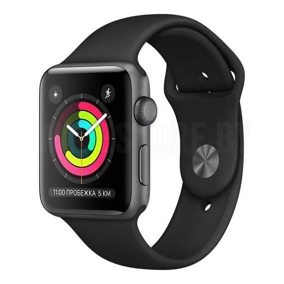 Умные часы Apple Watch Series 3 (GPS) 38mm Space Gray with Black Sport Band (MQKV2)