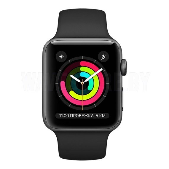 Умные часы Apple Watch Series 3 (GPS) 42mm Space Gray with Black Sport Band (MQL12)