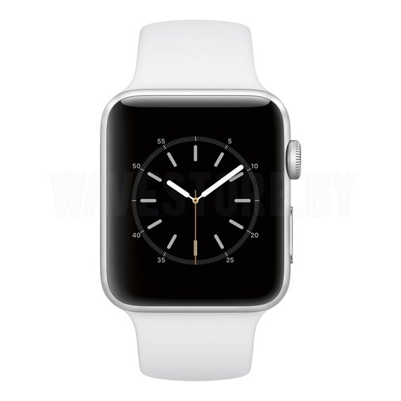 Умные часы Apple Watch Series 2 42mm Silver with White Sport Band (MNPJ2)