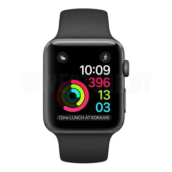 Умные часы Apple Watch Series 2 38mm Space Gray with Black Sport Band (MP0D2)